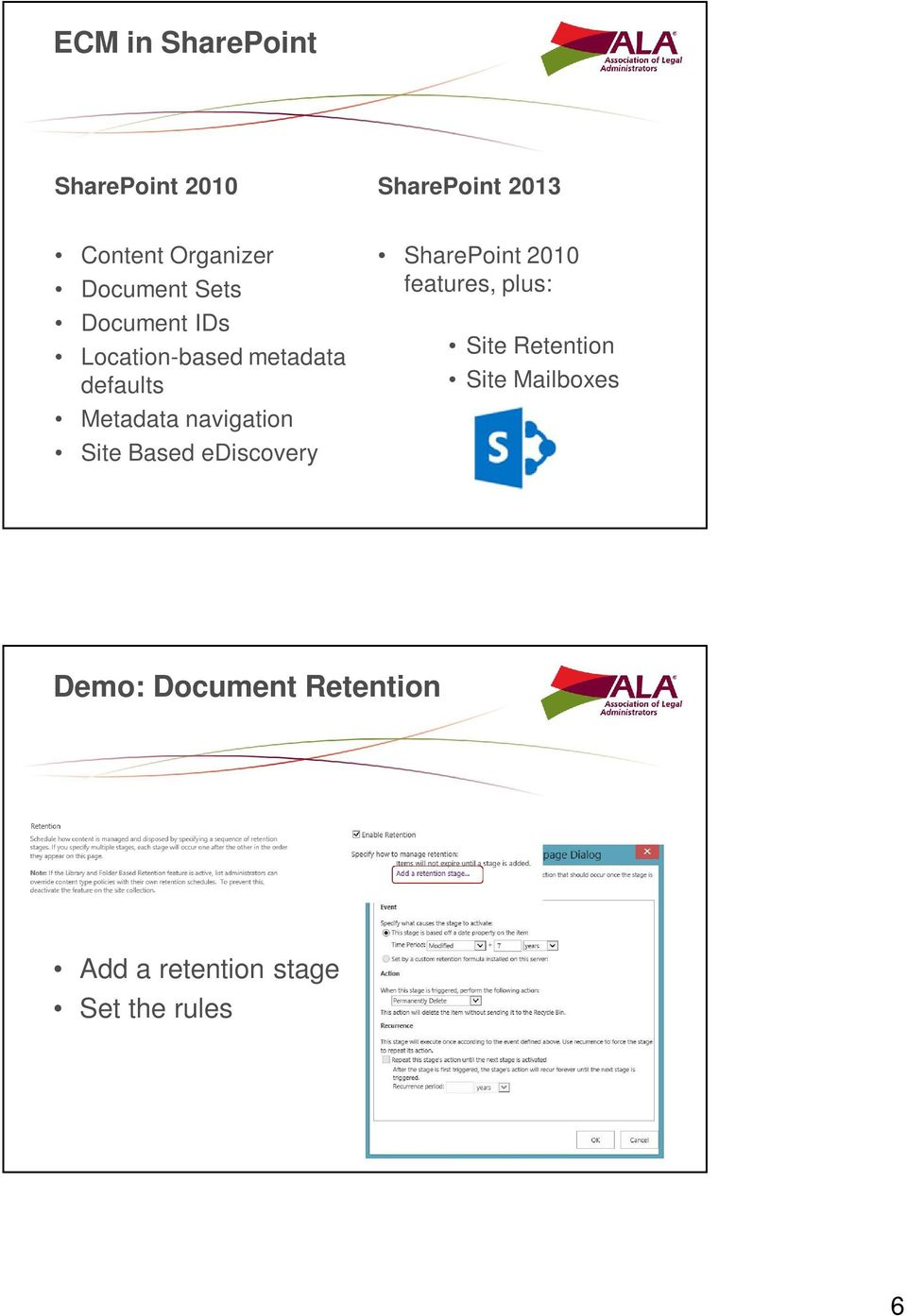 navigation Site Based ediscovery SharePoint 2010 features, plus: Site