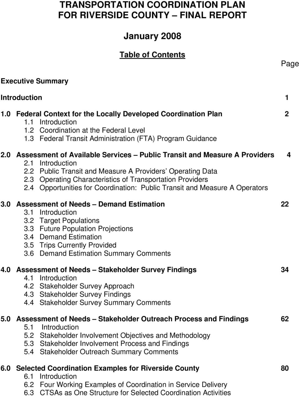 0 Assessment of Available Services Public Transit and Measure A Providers 4 2.1 Introduction 2.2 Public Transit and Measure A Providers Operating Data 2.