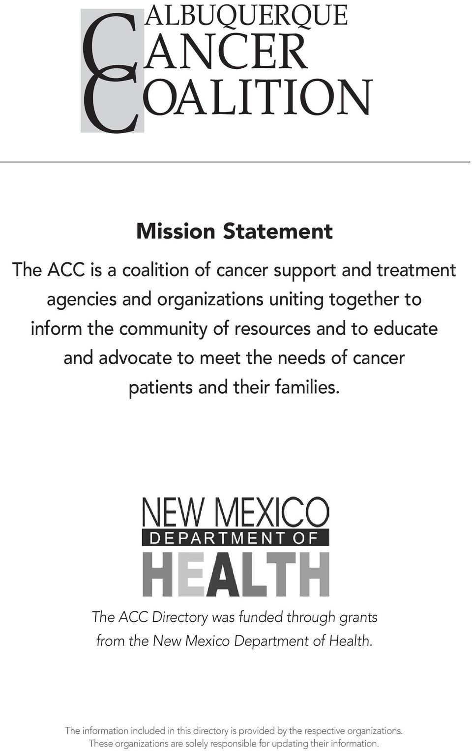 families. The ACC Directory was funded through grants from the New Mexico Department of Health.