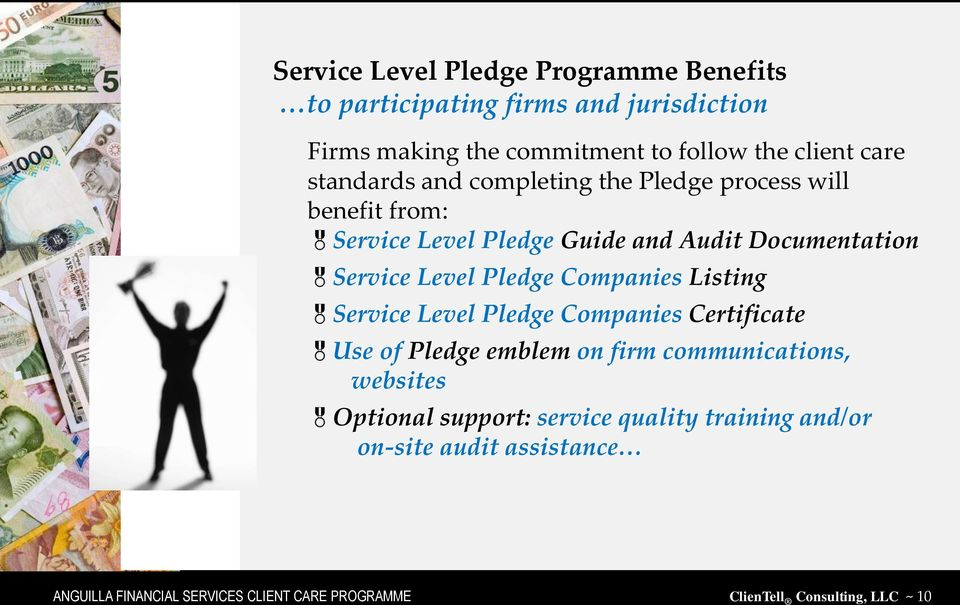 Companies Listing Service Level Pledge Companies Certificate Use of Pledge emblem on firm communications, websites Optional support:
