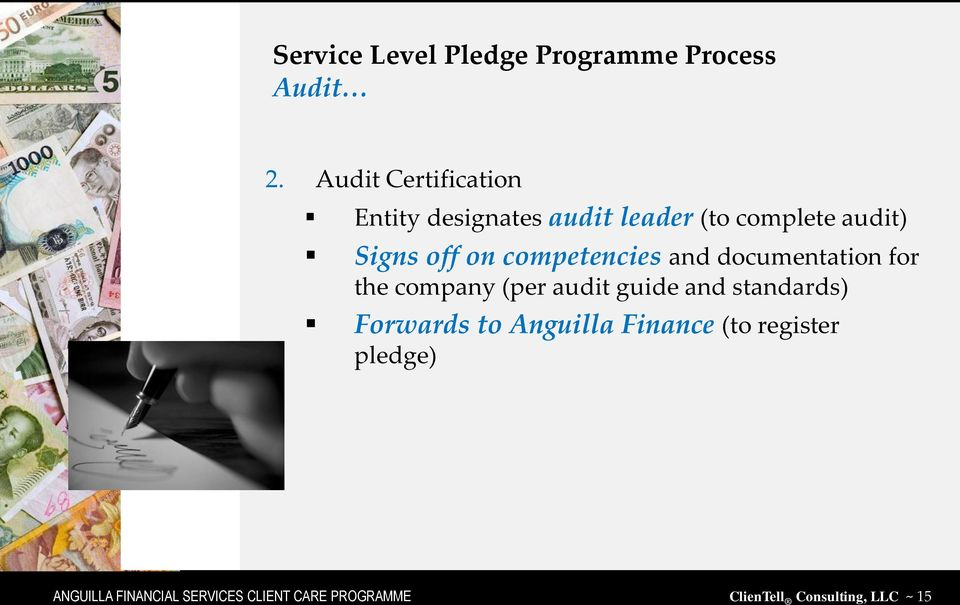 competencies and documentation for the company (per audit guide and standards)