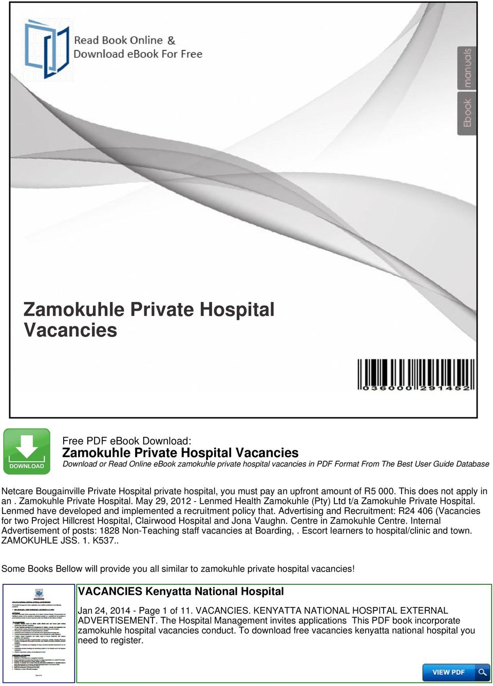 Zamokuhle private hospital vacancies pdf lenmed have developed and implemented a recruitment policy that advertising and recruitment r24 406 fandeluxe Gallery