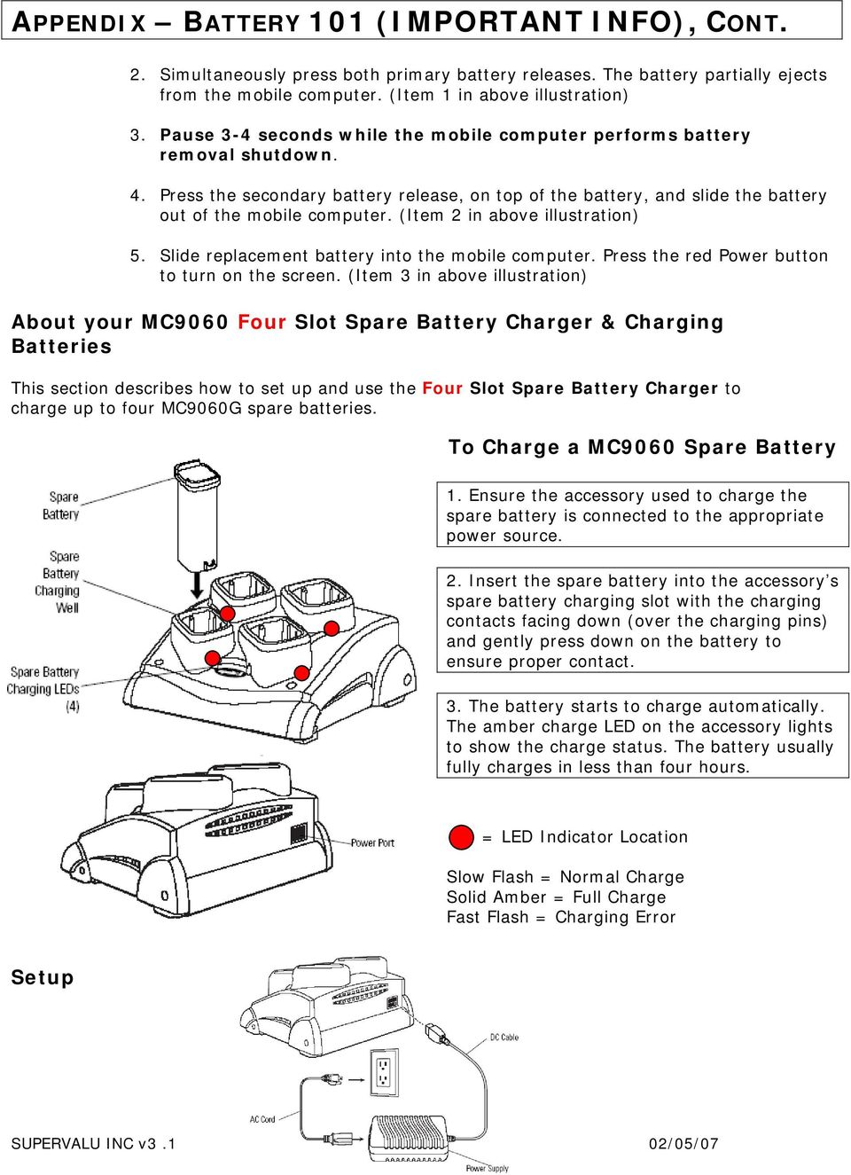 (Item 2 in above illustration) 5. Slide replacement battery into the mobile computer. Press the red Power button to turn on the screen.