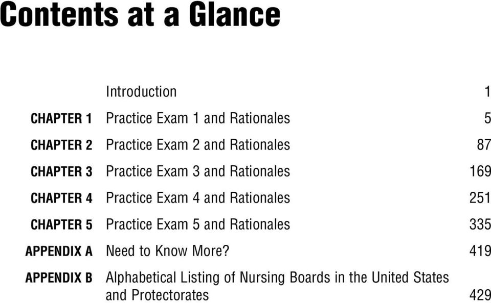 Practice Exam 4 and Rationales 251 CHAPTER 5 Practice Exam 5 and Rationales 335 APPENDIX A Need