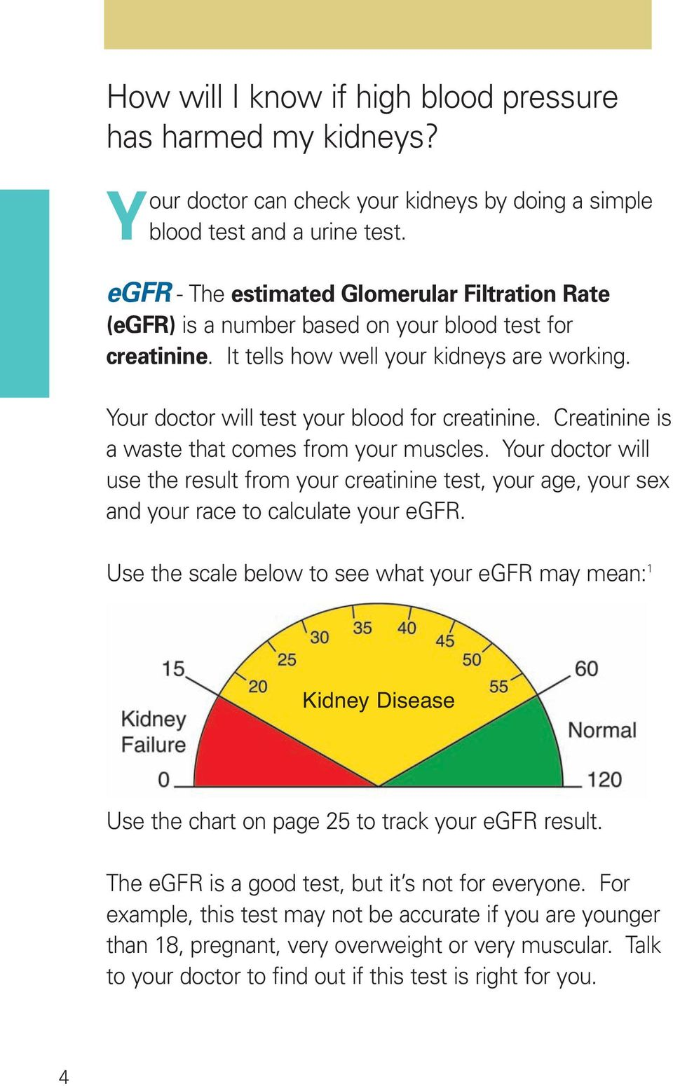Creatinine is a waste that comes from your muscles. Your doctor will use the result from your creatinine test, your age, your sex and your race to calculate your egfr.