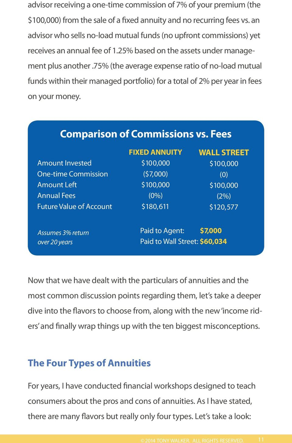 75% (the average expense ratio of no-load mutual funds within their managed portfolio) for a total of 2% per year in fees on your money. Comparison of Commissions vs.