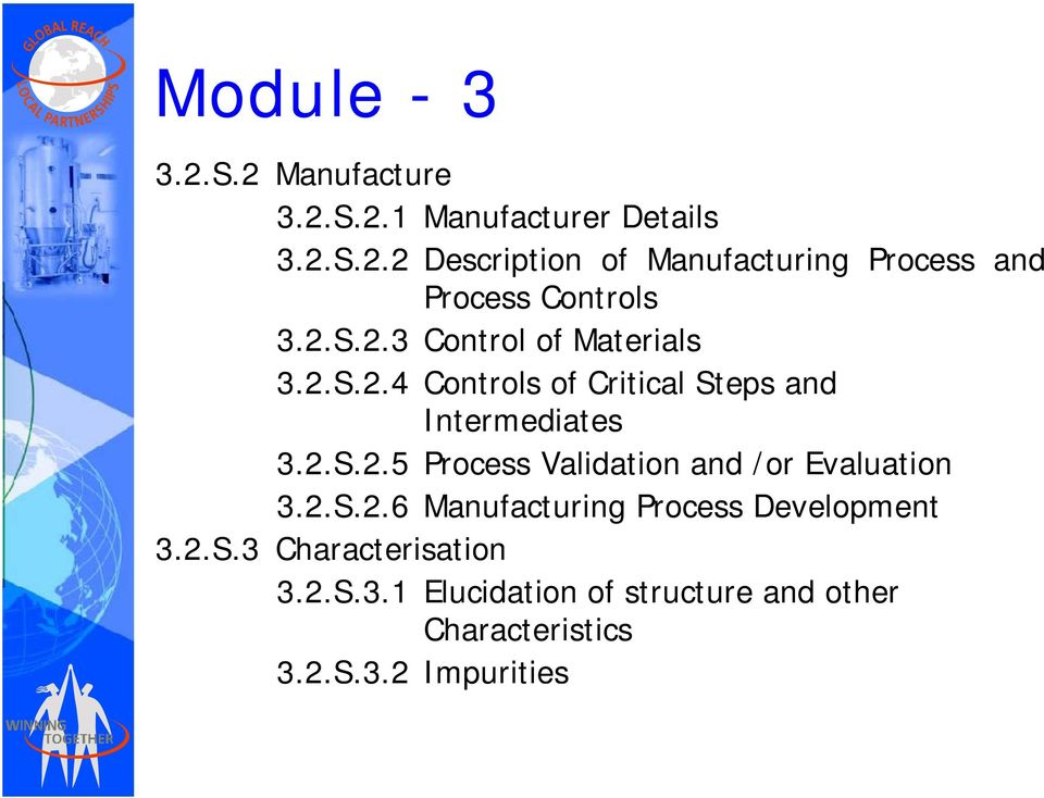 2.S.2.6 Manufacturing Process Development 3.2.S.3 Characterisation 3.2.S.3.1 Elucidation of structure and other Characteristics 3.