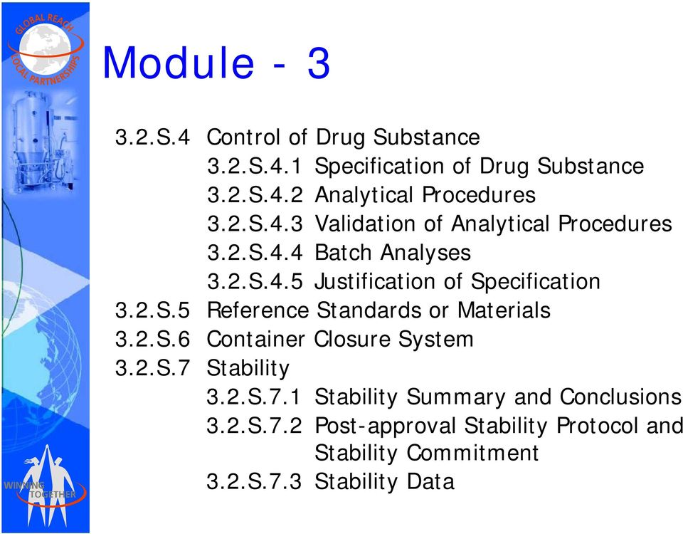2.S.5 Reference Standards or Materials 3.2.S.6 Container Closure System 3.2.S.7