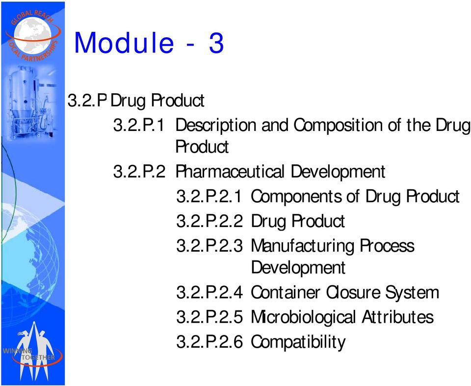 2.P.2.3 Manufacturing Process Development 3.2.P.2.4 Container Closure System 3.2.P.2.5 Microbiological Attributes 3.