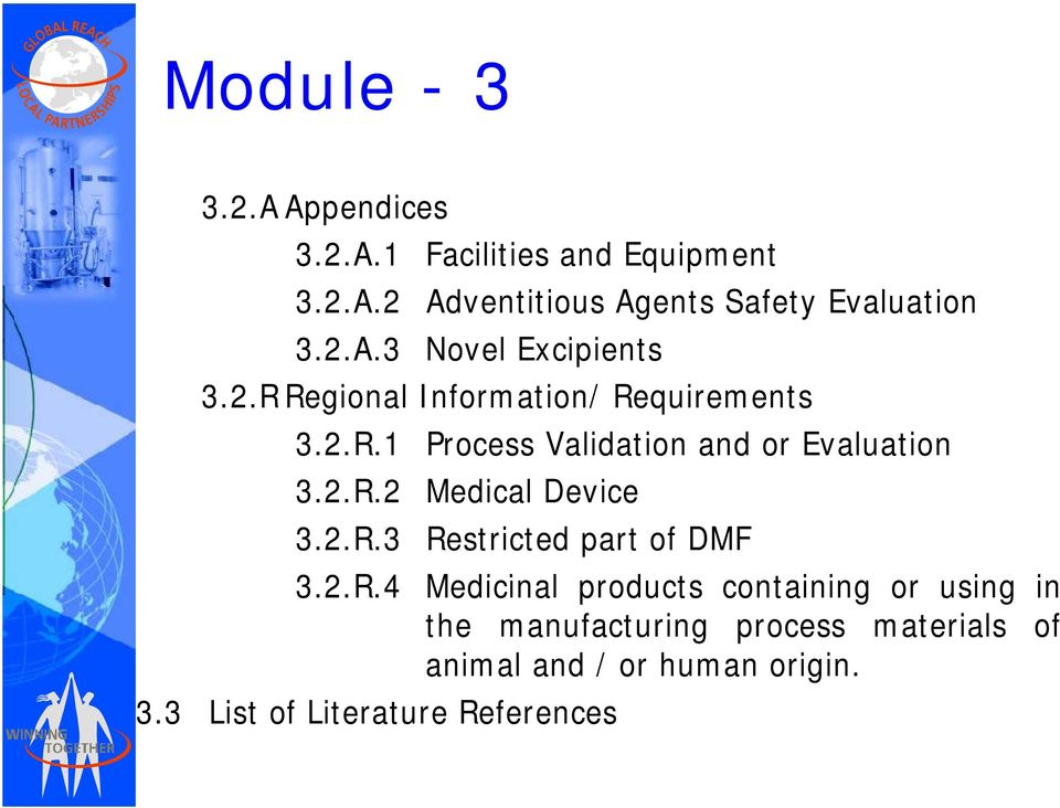 2.R.2 Medical Device 3.2.R.3 Restricted part of DMF 32R4 3.2.R.4 Medicinal i products containing i or using