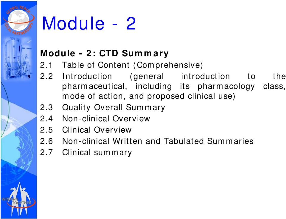 class, mode of action, and proposed clinical i l use) 2.3 Quality Overall Summary 2.