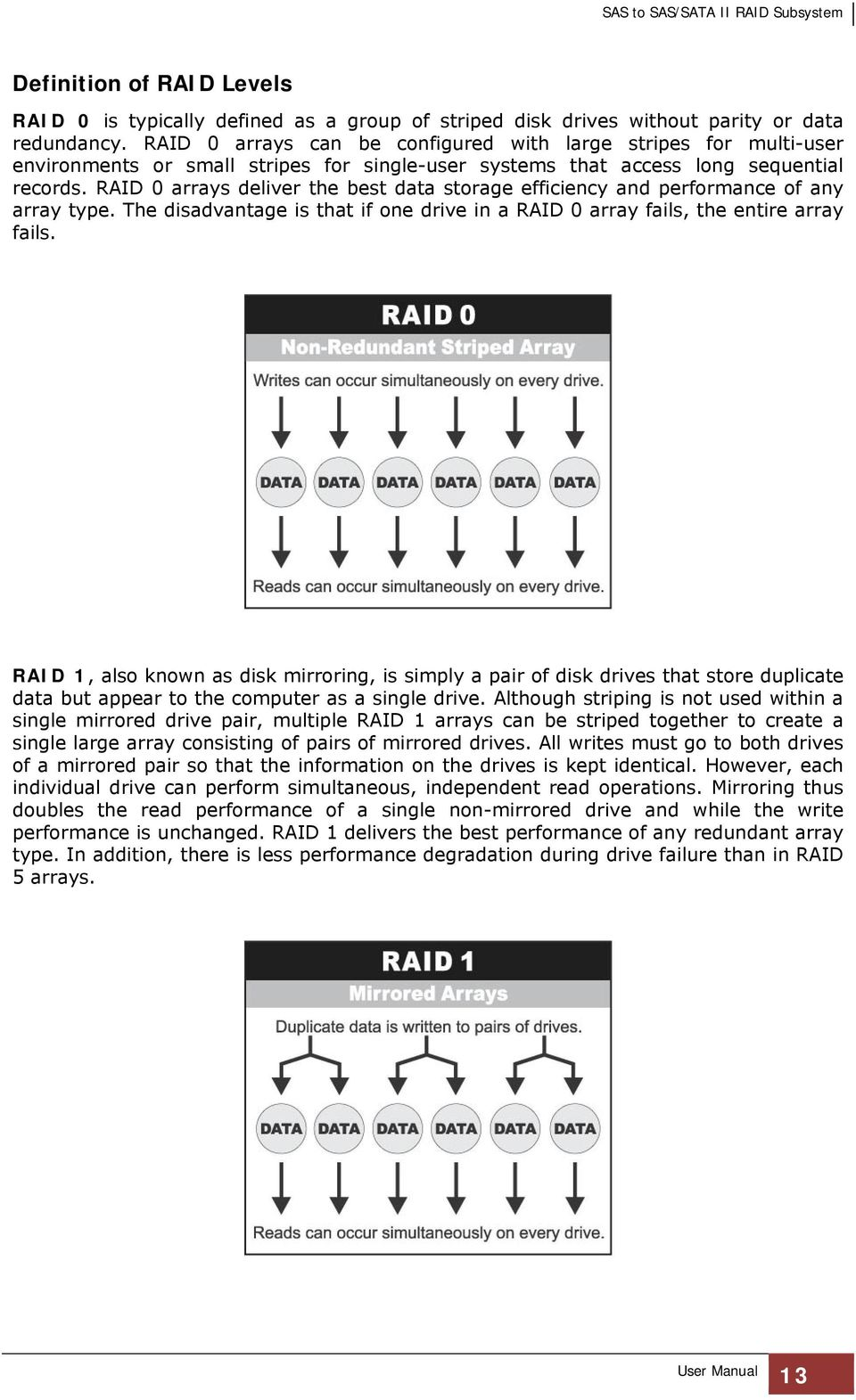 RAID 0 arrays deliver the best data storage efficiency and performance of any array type. The disadvantage is that if one drive in a RAID 0 array fails, the entire array fails.