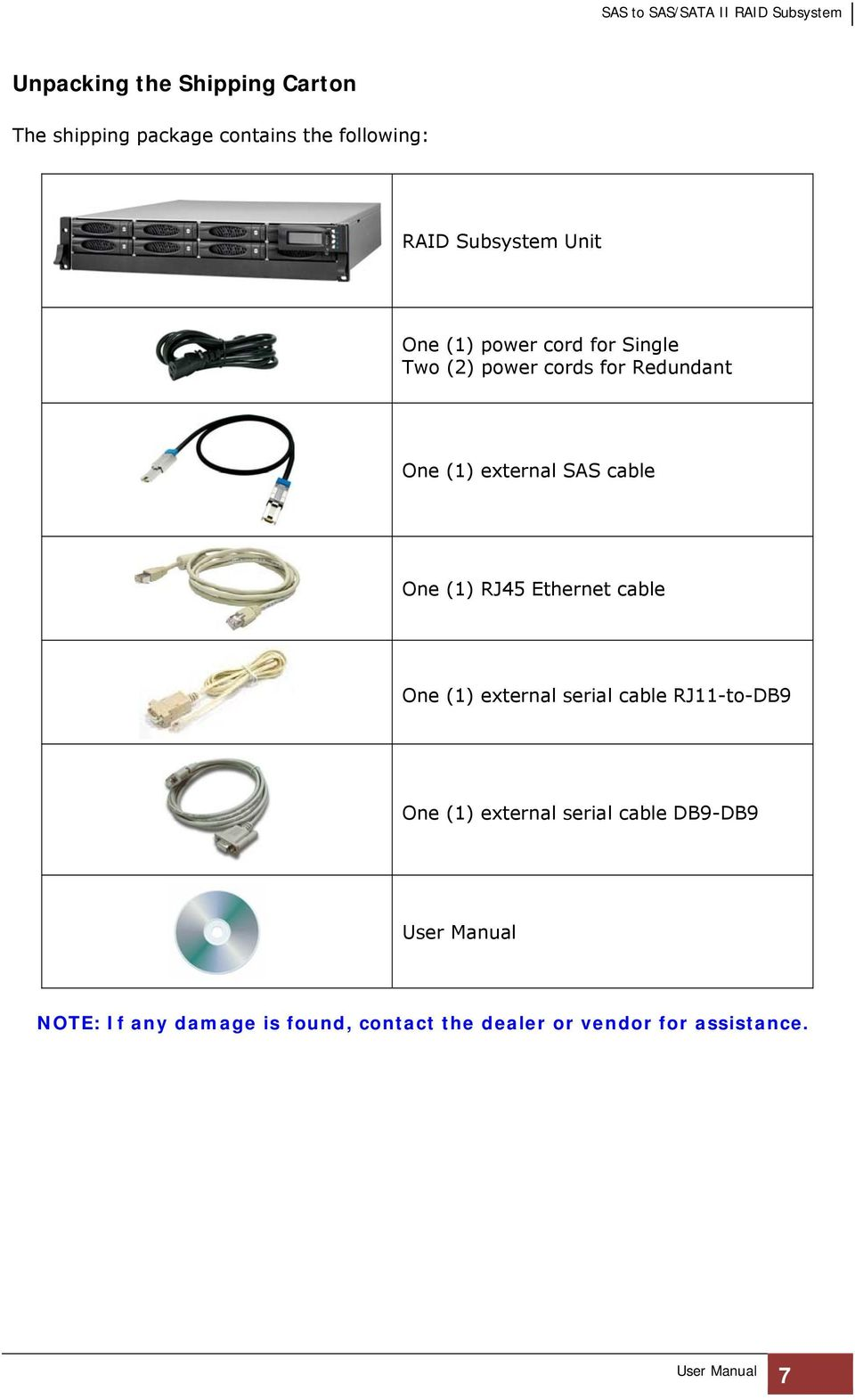 cable One (1) RJ45 Ethernet cable One (1) external serial cable RJ11-to-DB9 One (1) external