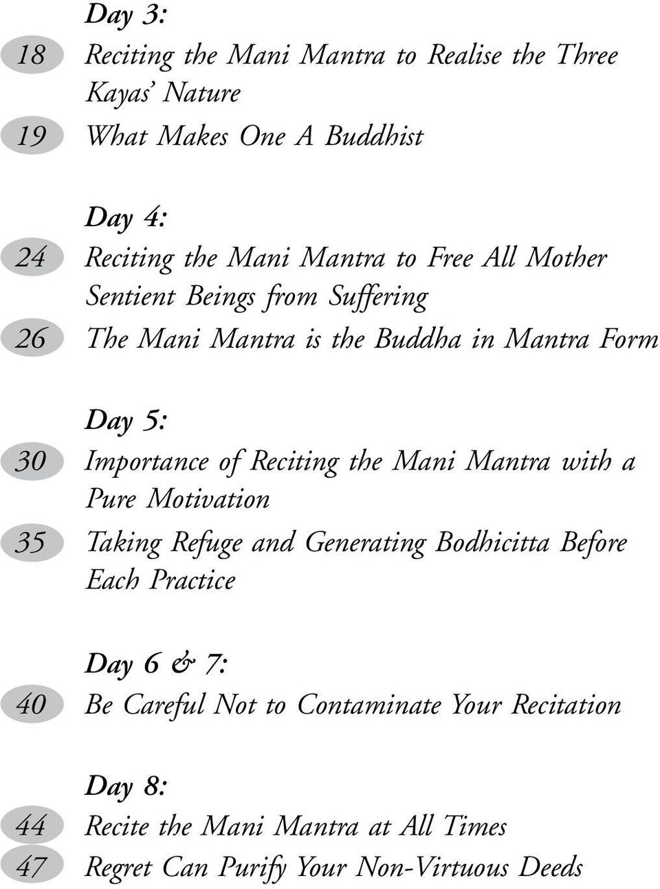 Reciting the Mani Mantra with a Pure Motivation 35 Taking Refuge and Generating Bodhicitta Before Each Practice Day 6 & 7: 40 Be