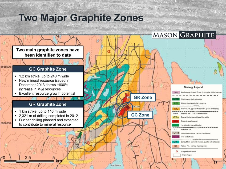 resources Excellent resource growth potential GR Graphite Zone 1 km strike, up to 110 m wide 2,321 m of