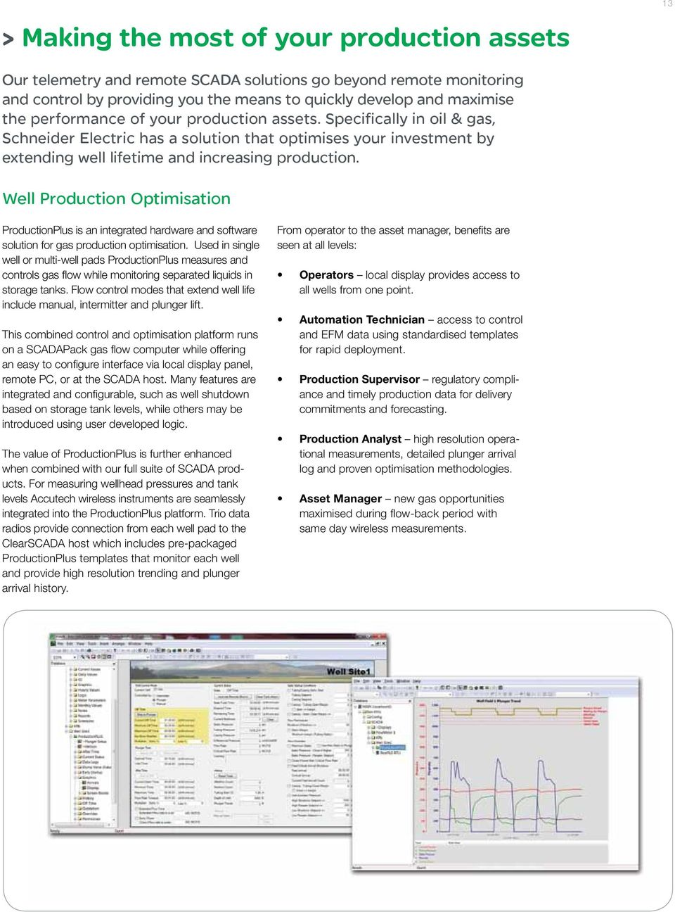 Well Production Optimisation ProductionPlus is an integrated hardware and software solution for gas production optimisation.