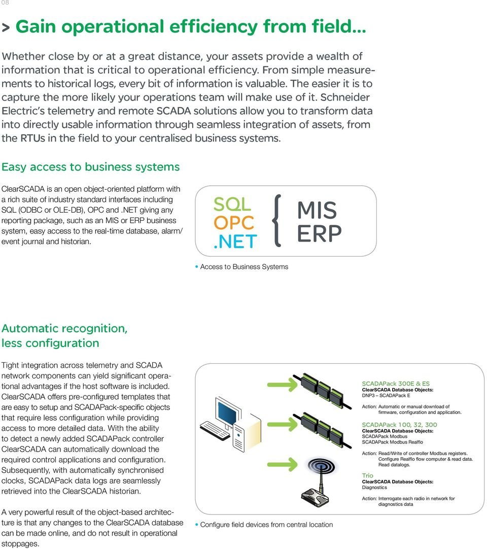Schneider Electric s telemetry and remote SCADA solutions allow you to transform data into directly usable information through seamless integration of assets, from the RTUs in the field to your