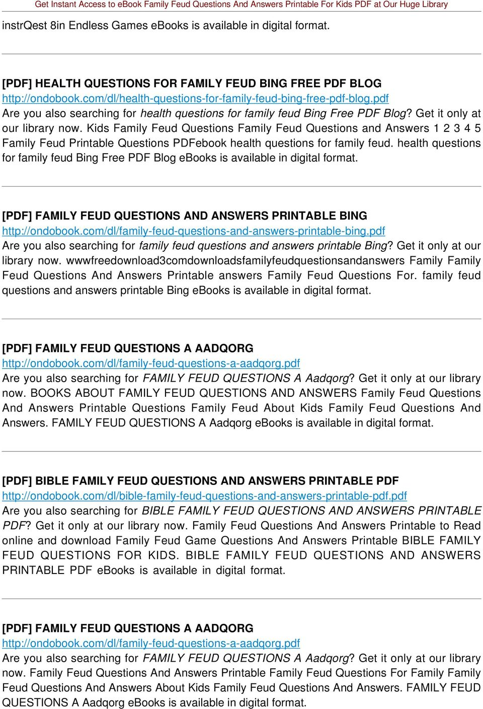 Kids Family Feud Questions Family Feud Questions and Answers 1 2 3 4 5 Family Feud Printable Questions PDFebook health questions for family feud.