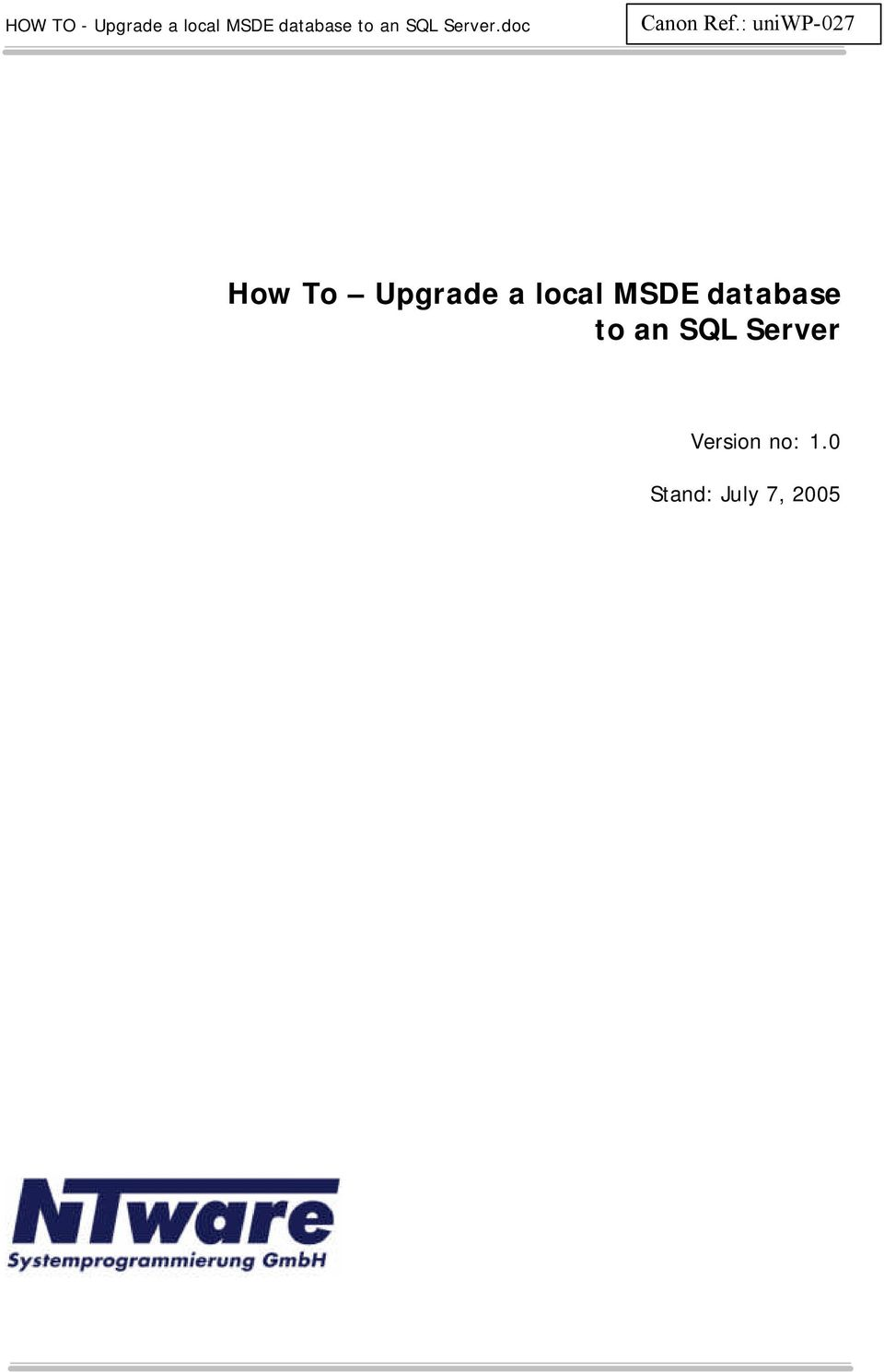 a local MSDE database to an