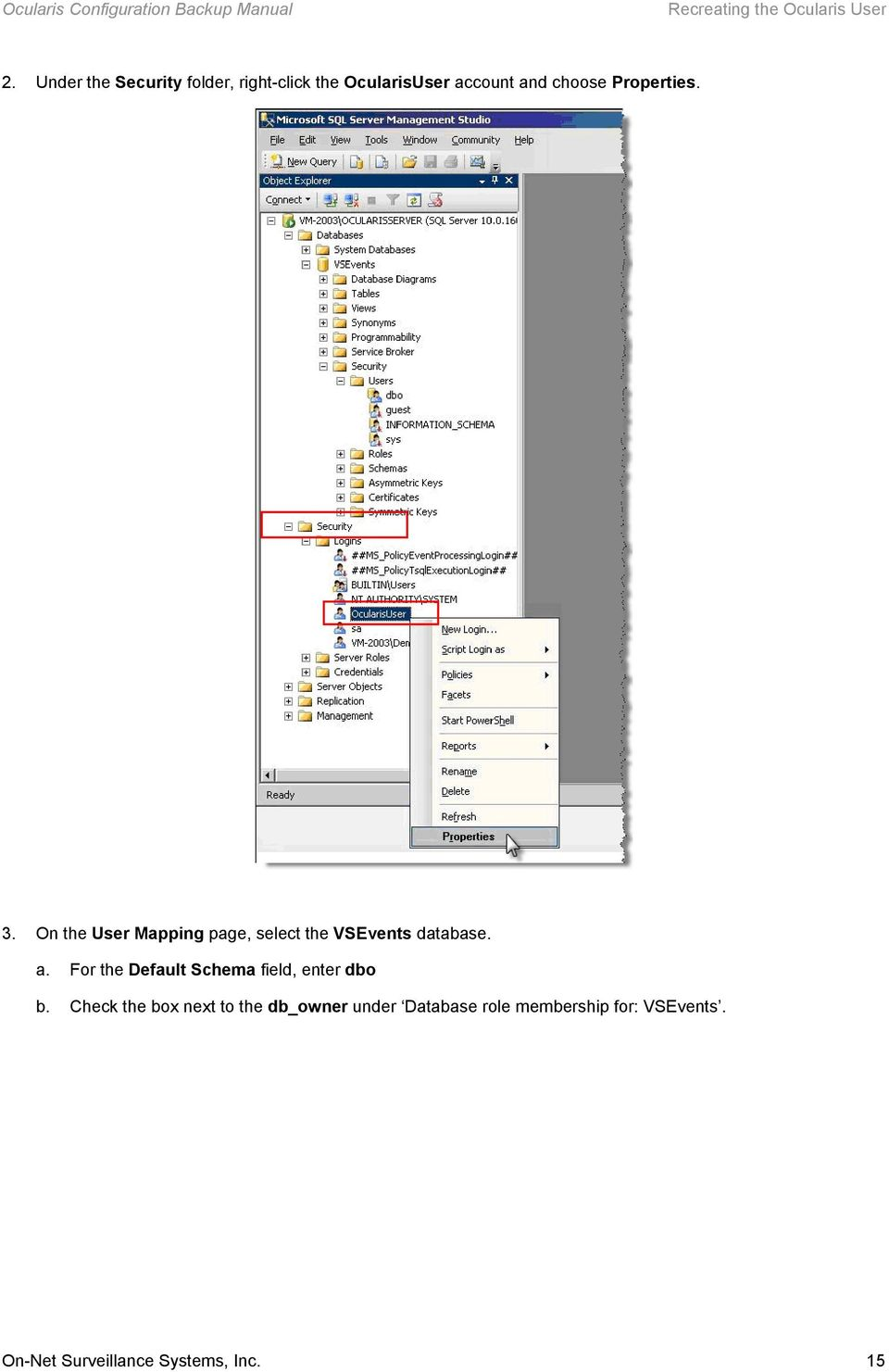 3. On the User Mapping page, select the VSEvents database. a.