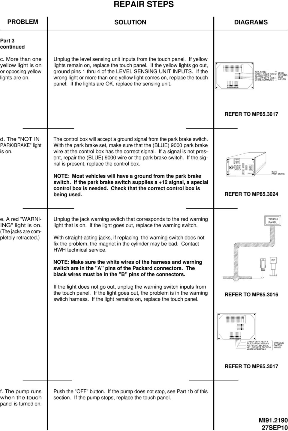 Corporation Service Manual Hwh Touch Panel Controlled 310 Series Parking Brake Indicator Light Wiring Diagram If The Wrong Or More Than One Yellow Comes On Replace