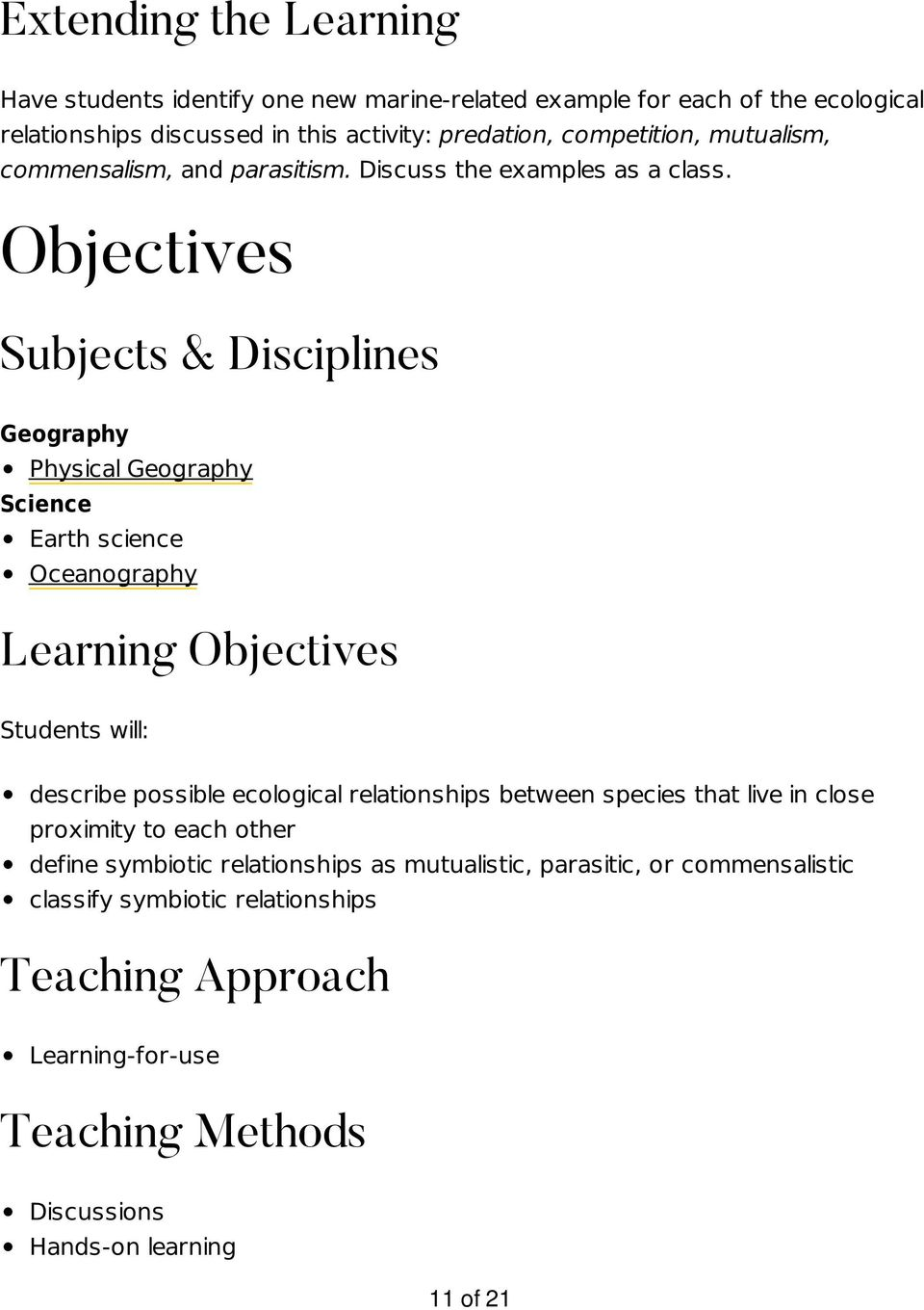 Objectives Subjects & Disciplines Geography Physical Geography Science Earth science Oceanography Learning Objectives Students will: describe possible ecological