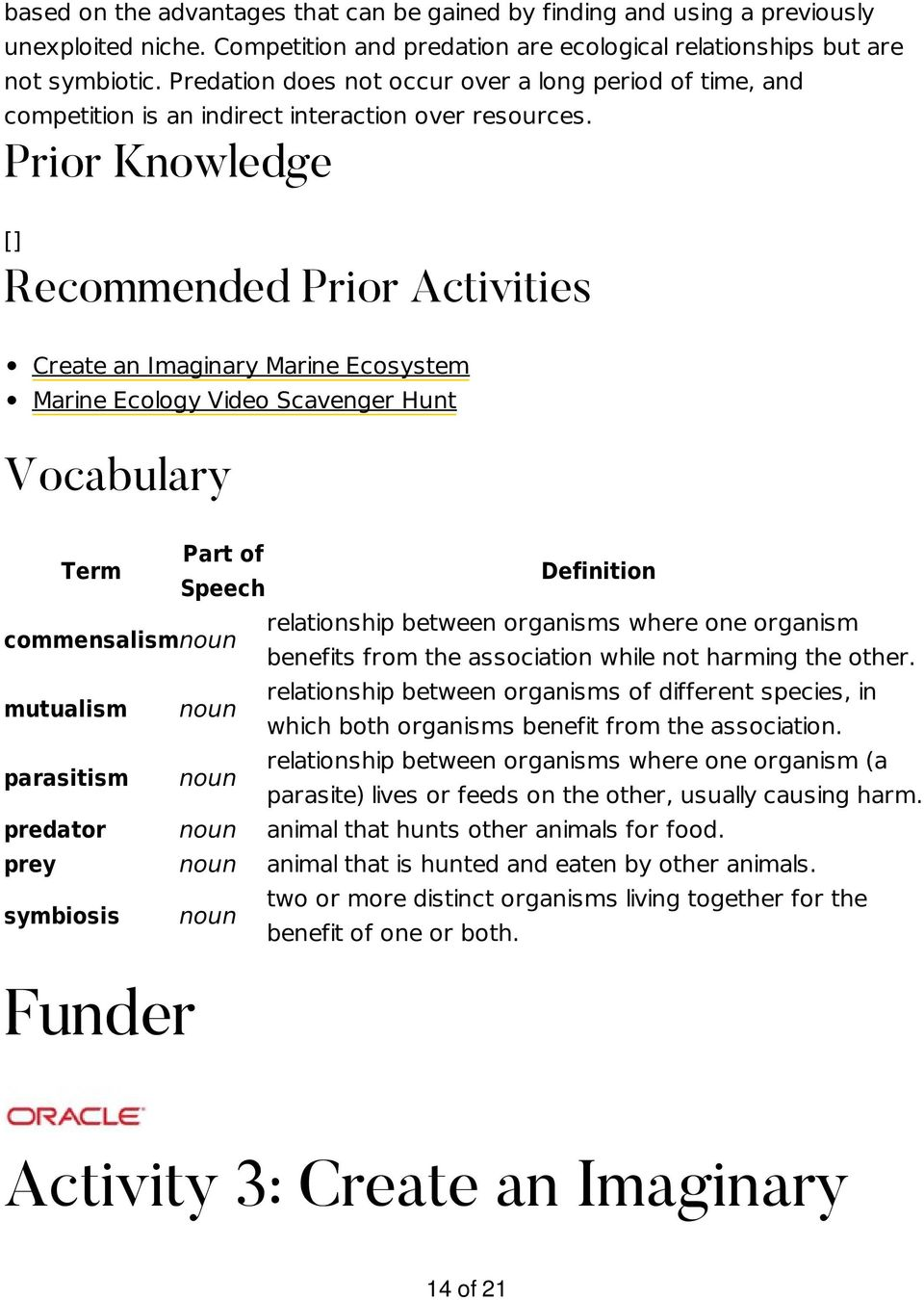 Prior Knowledge [] Recommended Prior Activities Create an Imaginary Marine Ecosystem Marine Ecology Video Scavenger Hunt Vocabulary Term Part of Speech Definition commensalismnoun relationship