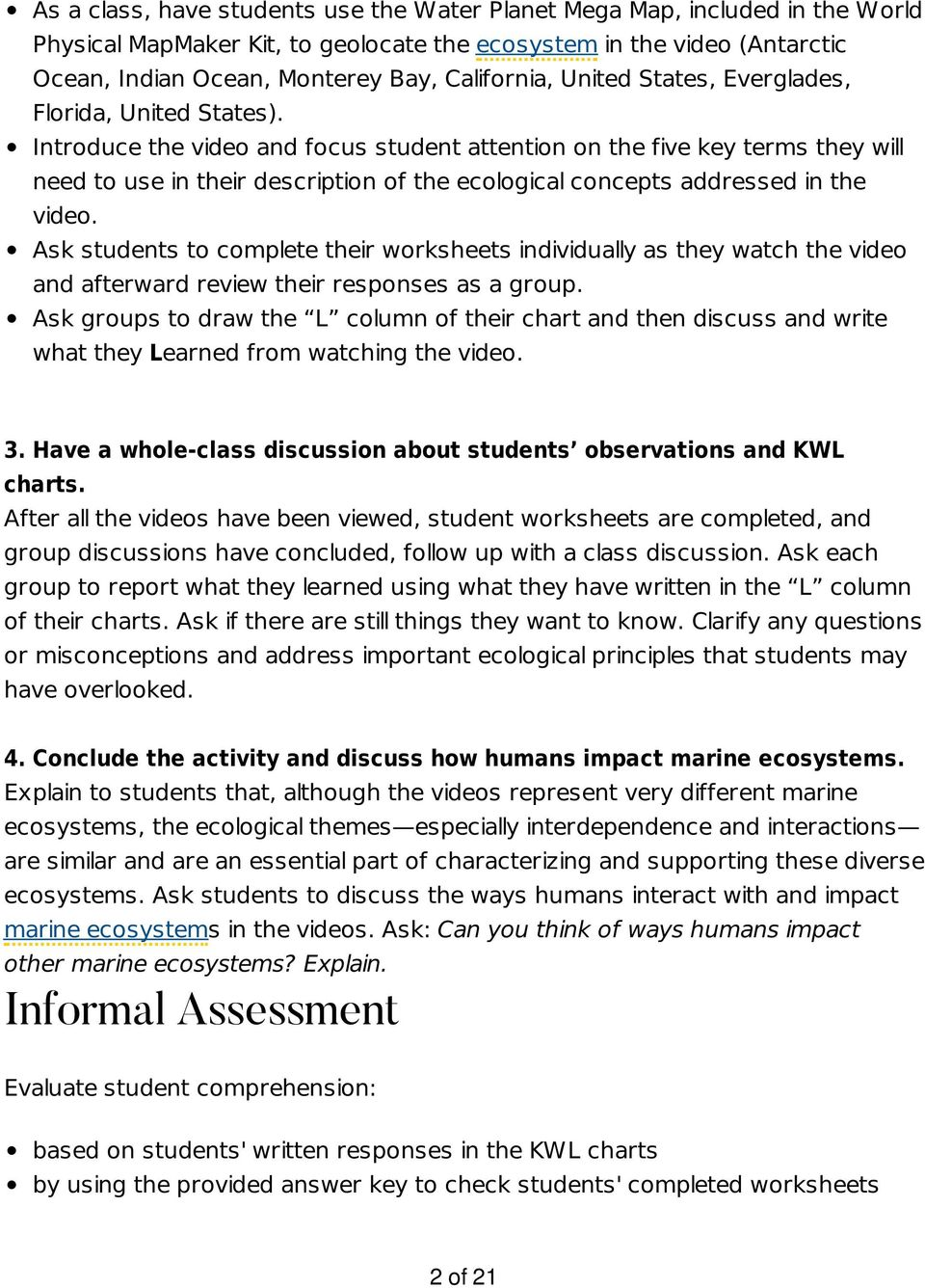 Introduce the video and focus student attention on the five key terms they will need to use in their description of the ecological concepts addressed in the video.