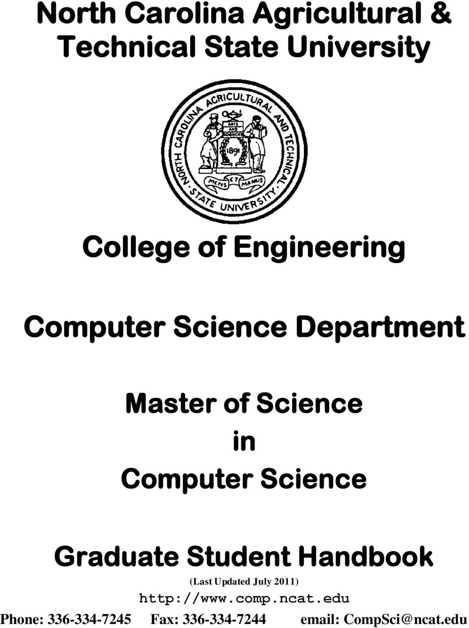 Science Graduate Student Handbook (Last Updated July 2011) http://www.