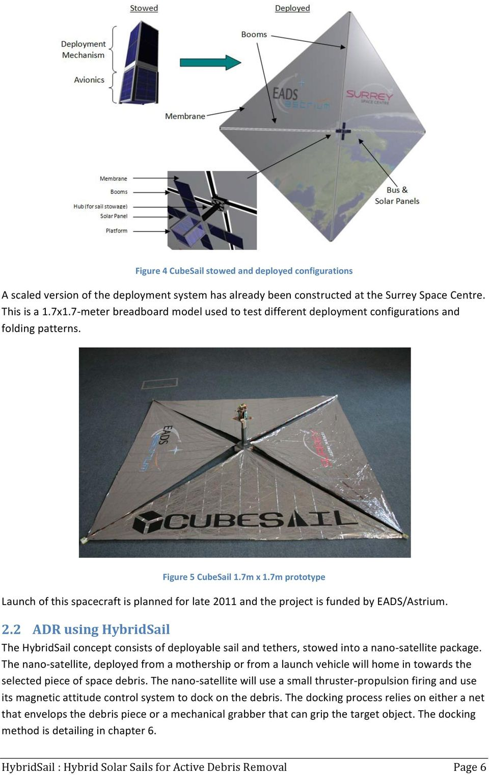 7m prototype Launch of this spacecraft is planned for late 211 and the project is funded by EADS/Astrium. 2.2 ADR using HybridSail The HybridSail concept consists of deployable sail and tethers, stowed into a nano- satellite package.