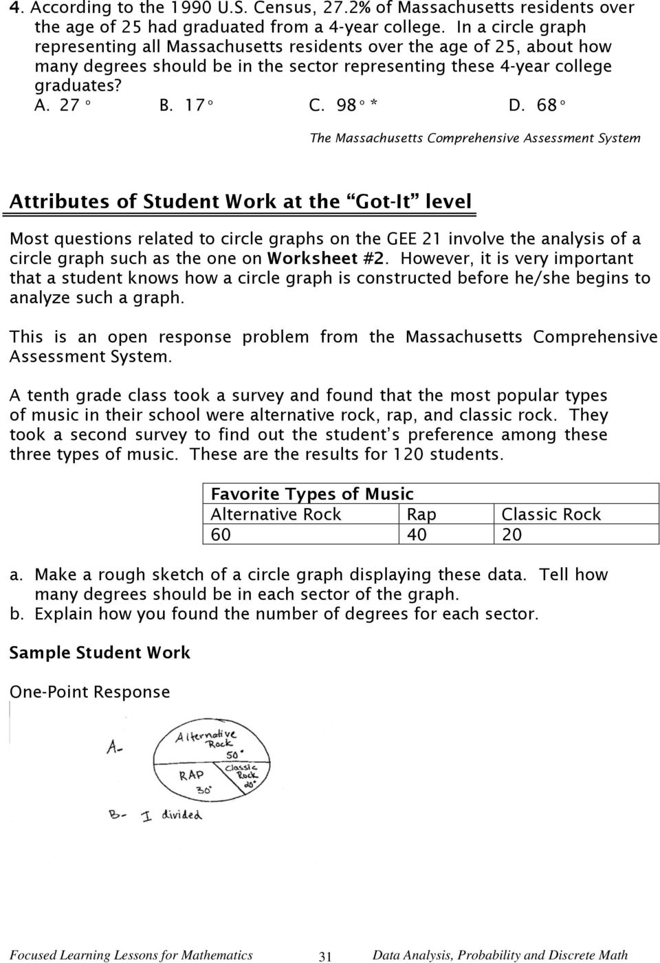 worksheet Circle Graph Worksheet lesson 3 constructing circle graphs selected content standards 68 o the massachusetts comprehensive assessment system attributes of student work at got it