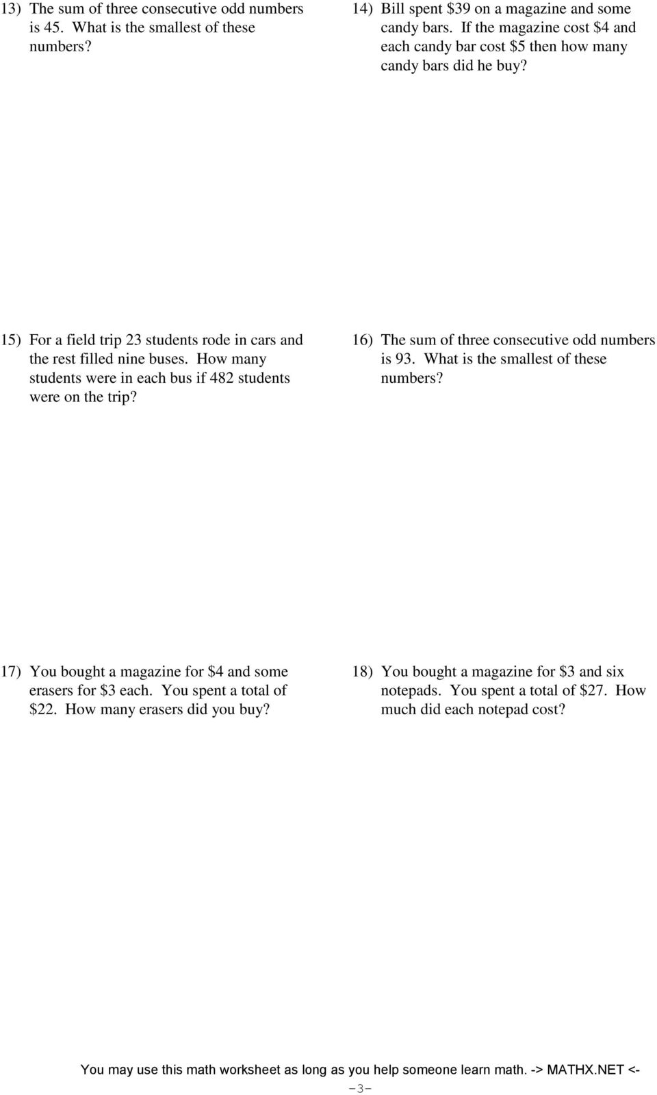 Twostep equations word problems integers PDF – Two Step Equations Word Problems Worksheet