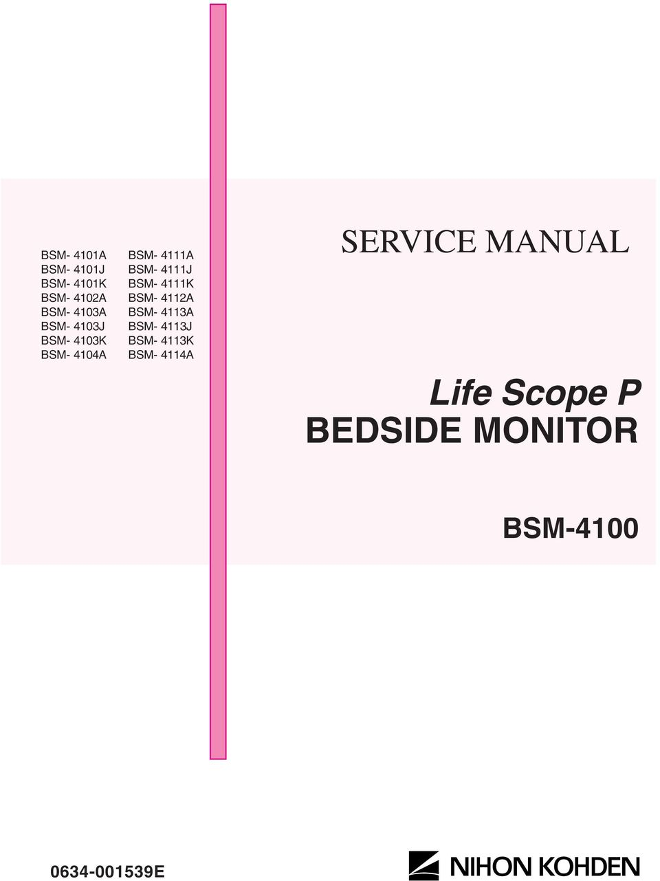 Life scope p bedside monitor service manual bsm e pdf transcription ccuart Choice Image