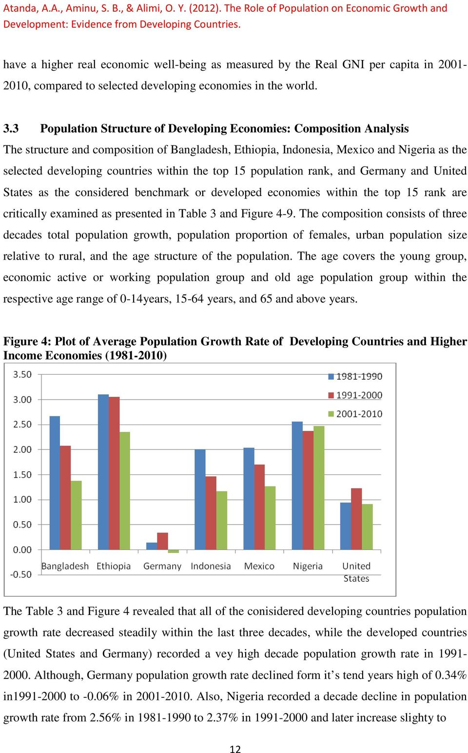 3 Population Structure of Developing Economies: Composition Analysis The structure and composition of Bangladesh, Ethiopia, Indonesia, Mexico and Nigeria as the selected developing countries within