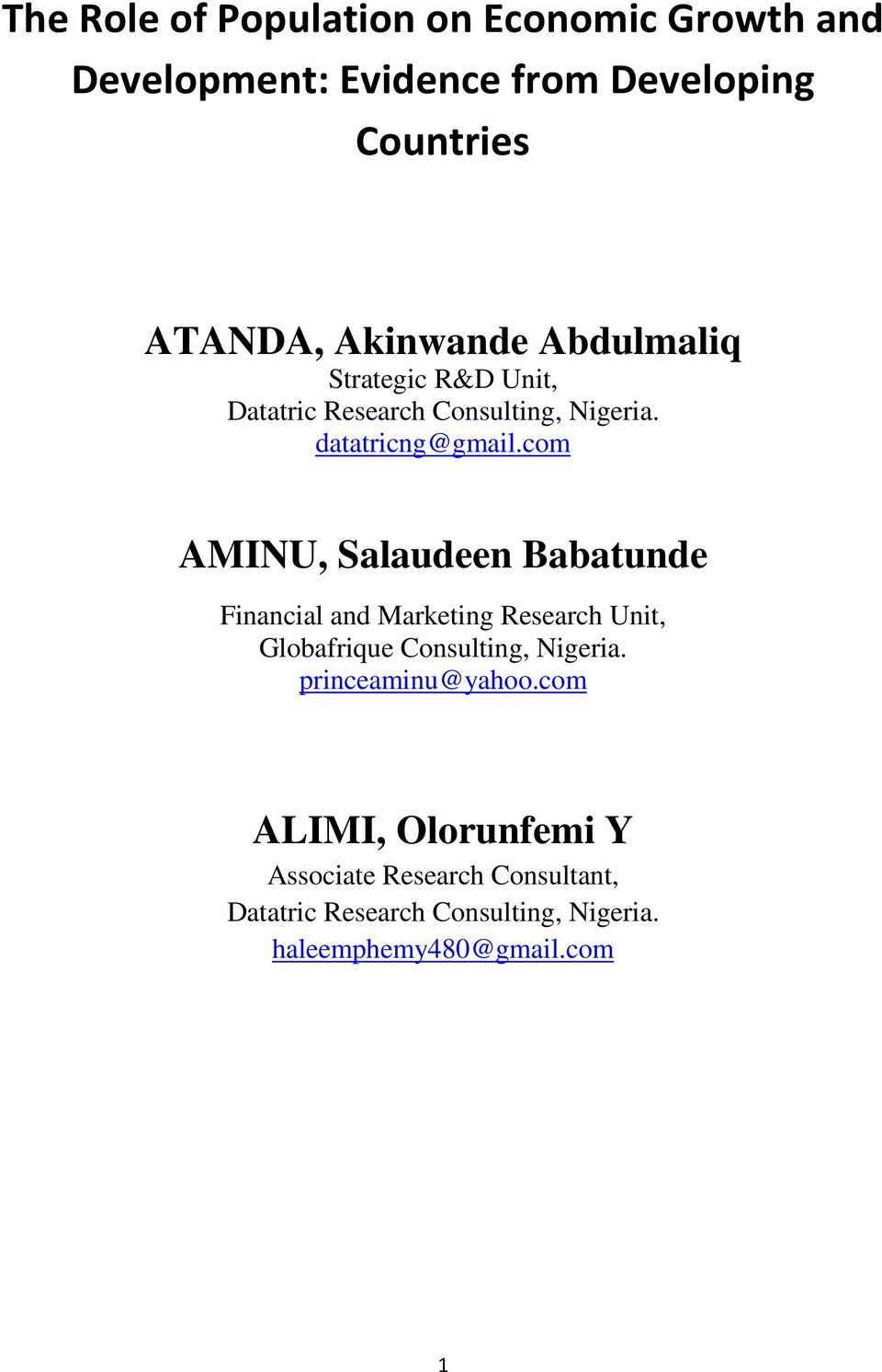 com AMINU, Salaudeen Babatunde Financial and Marketing Research Unit, Globafrique Consulting, Nigeria.