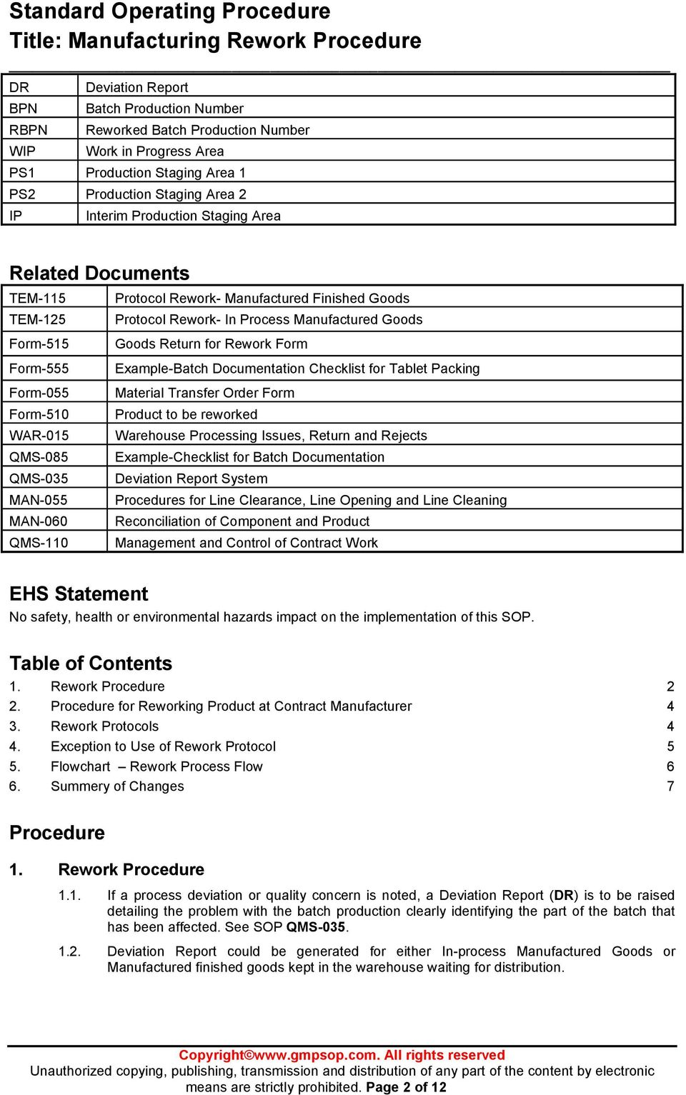 Standard operating procedure title manufacturing rework for Fda sop template