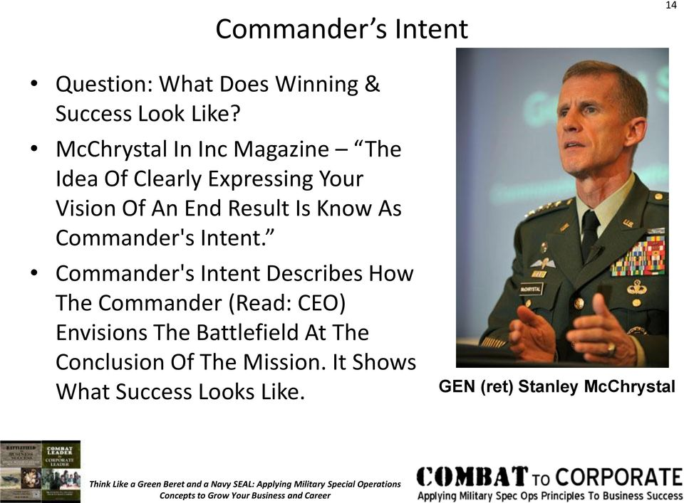Know As Commander's Intent.
