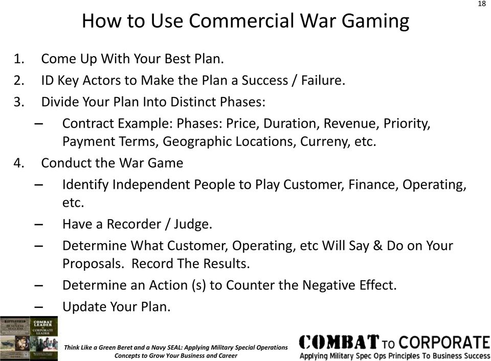 Curreny, etc. 4. Conduct the War Game Identify Independent People to Play Customer, Finance, Operating, etc. Have a Recorder / Judge.
