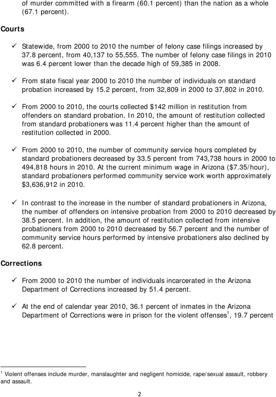From state fiscal year 2000 to 2010 the number of individuals on standard probation increased by 15.2 percent, from 32,809 in 2000 to 37,802 in 2010.