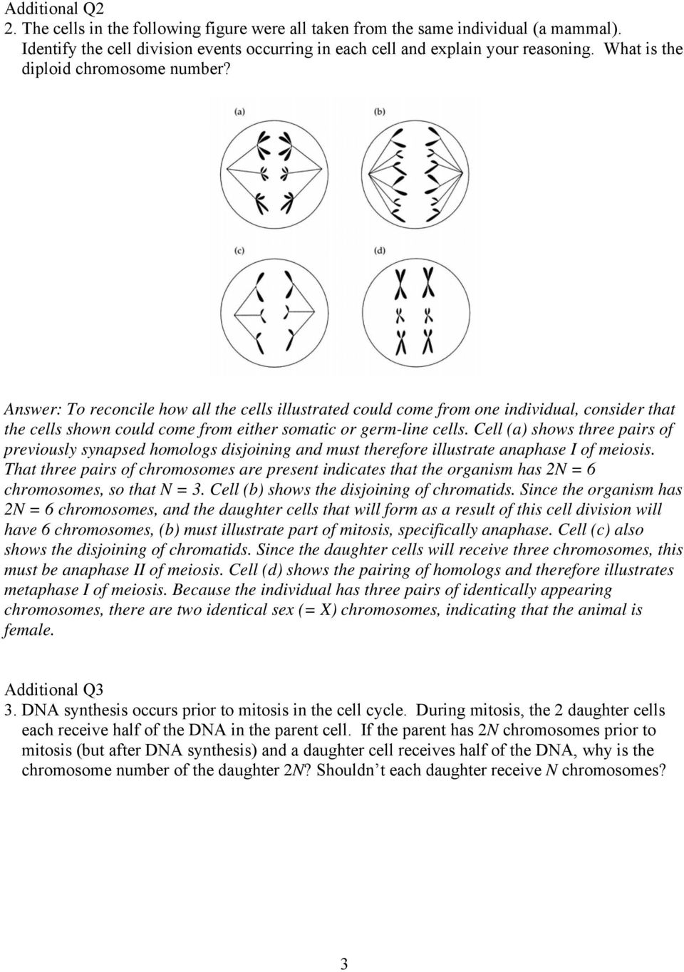 BioSci 2200 General Genetics Problem Set 1 Answer Key Introduction – Mitosis Versus Meiosis Worksheet Answer Key