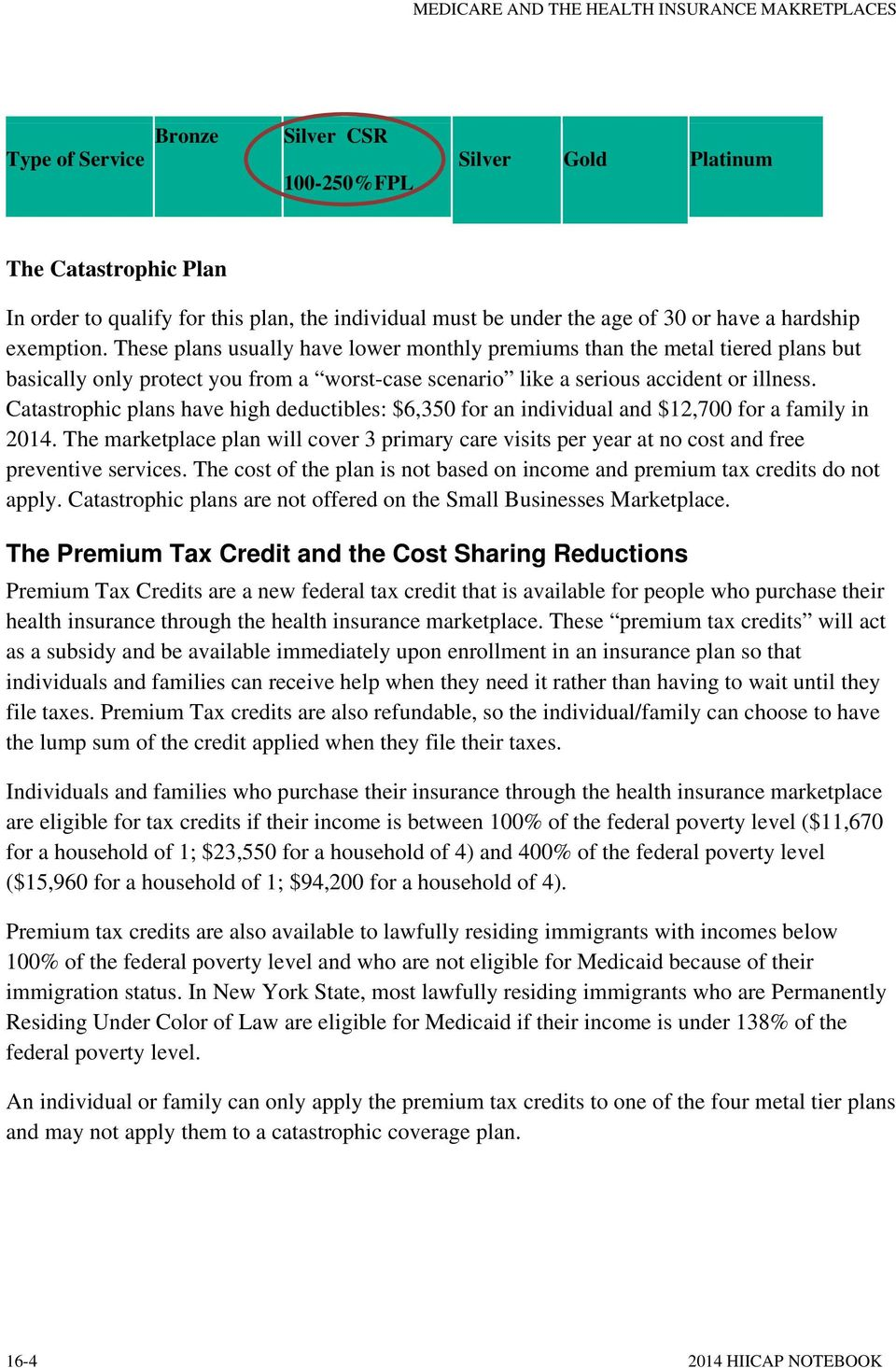 Catastrophic plans have high deductibles: $6,350 for an individual and $12,700 for a family in 2014.