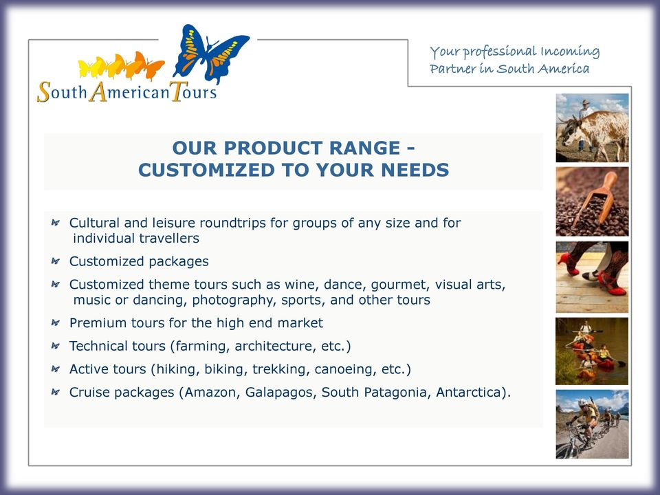 photography, sports, and other tours Premium tours for the high end market Technical tours (farming, architecture, etc.
