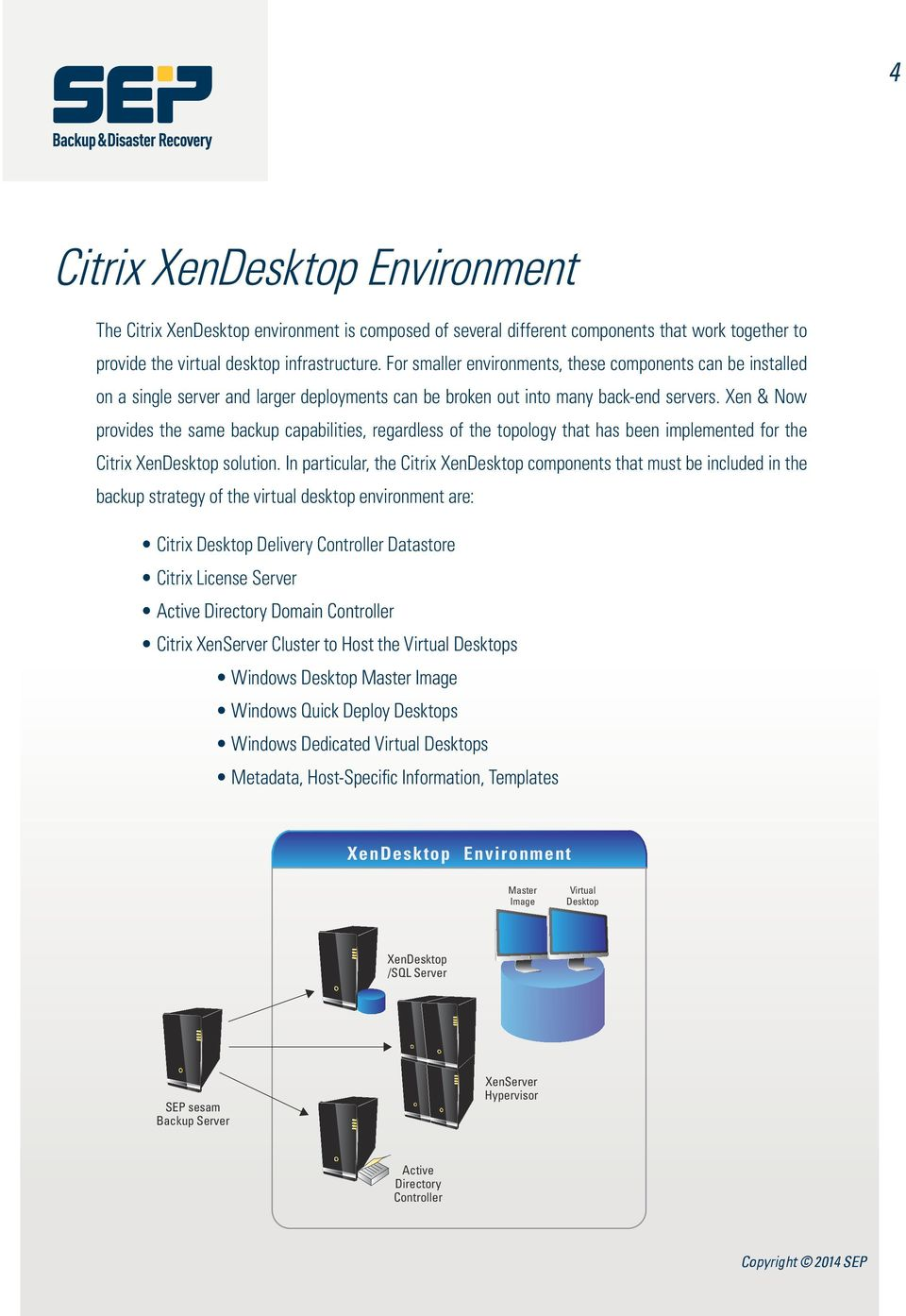 Xen & Now provides the same backup capabilities, regardless of the topology that has been implemented for the Citrix XenDesktop solution.