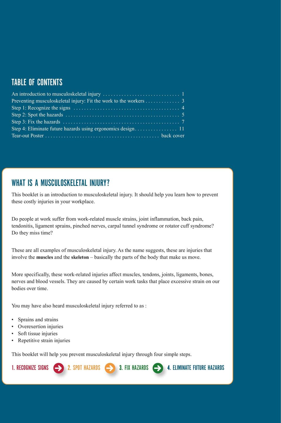 ............... 11 Tear-out Poster........................................... back cover WHAT IS A MUSCULOSKELETAL INJURY? This booklet is an introduction to musculoskeletal injury.