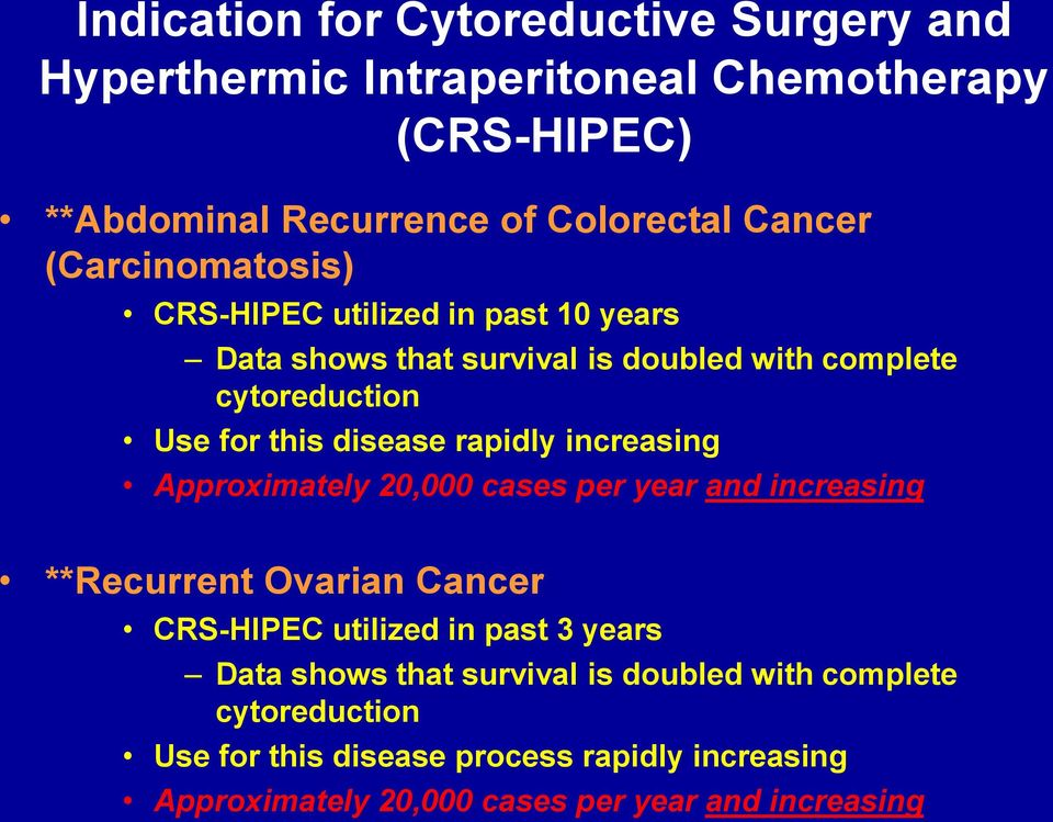 rapidly increasing Approximately 20,000 cases per year and increasing **Recurrent Ovarian Cancer CRS-HIPEC utilized in past 3 years Data shows
