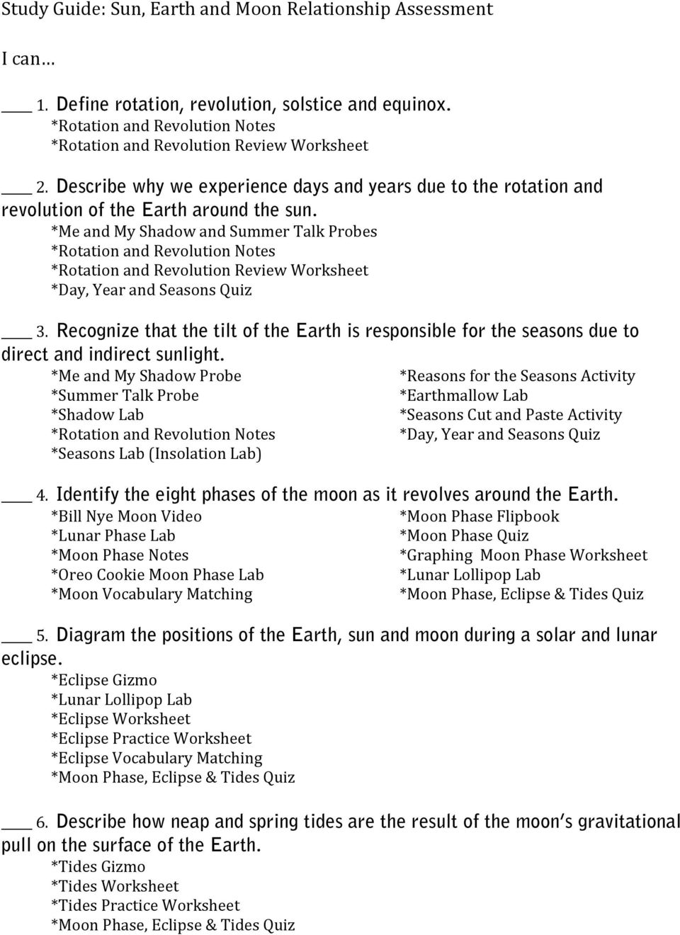 worksheet Tides Worksheet study guide sun earth and moon relationship assessment pdf me my shadow summer talk probes rotation revolution review worksheet