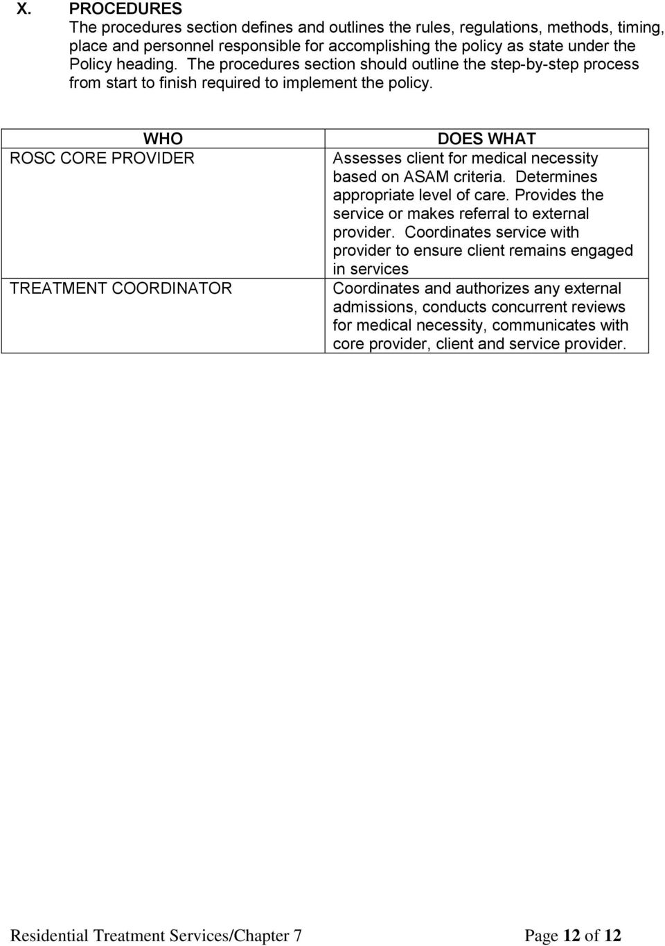 WHO ROSC CORE PROVIDER TREATMENT COORDINATOR DOES WHAT Assesses client for medical necessity based on ASAM criteria. Determines appropriate level of care.