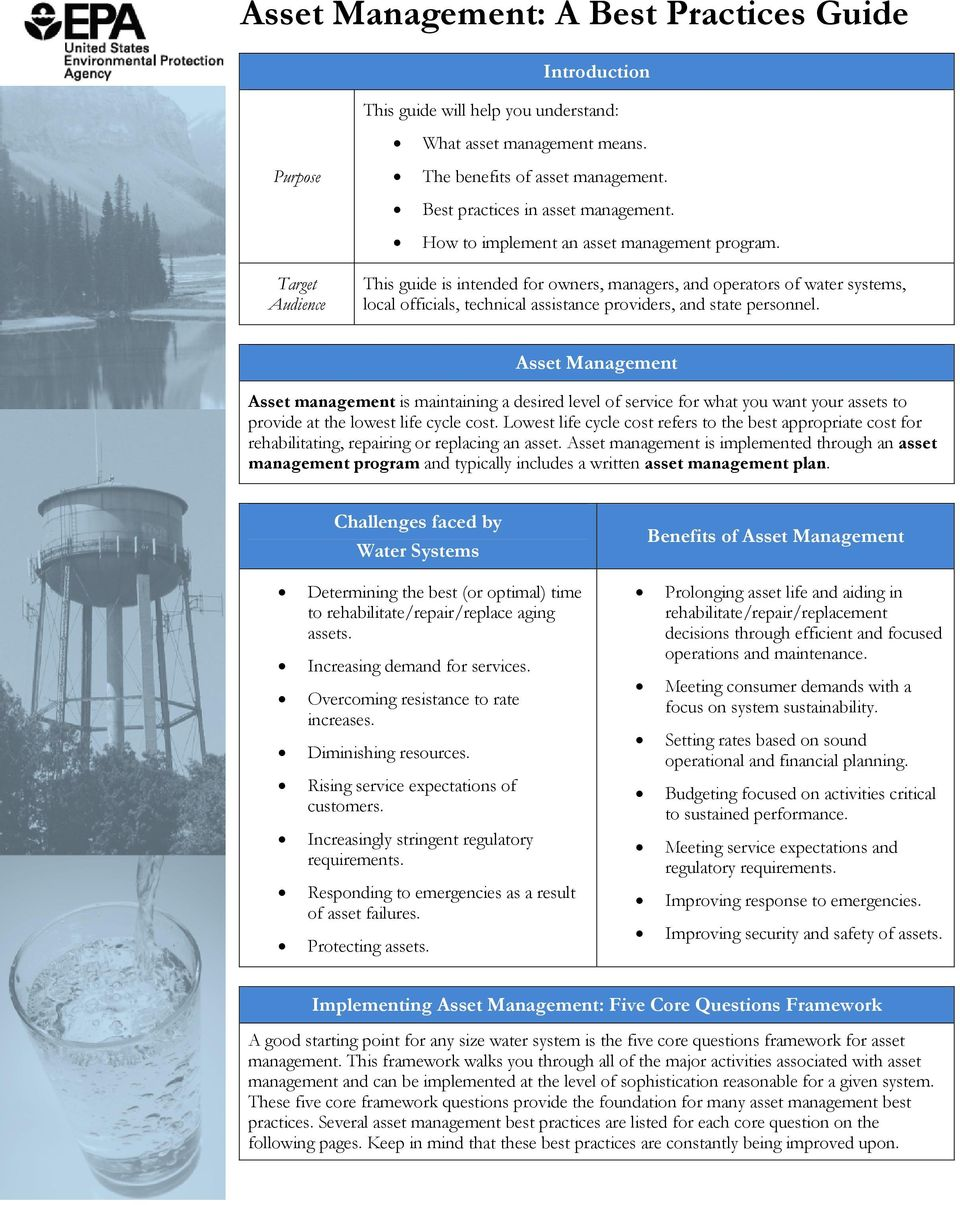 Target Audience This guide is intended for owners, managers, and operators of water systems, local officials, technical assistance providers, and state personnel.