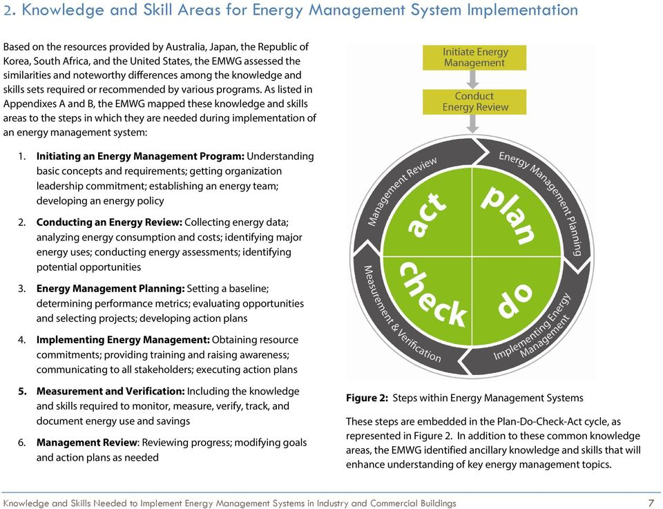As listed in Appendixes A and B, the EMWG mapped these knowledge and skills areas to the steps in which they are needed during implementation of an energy management system: 1.