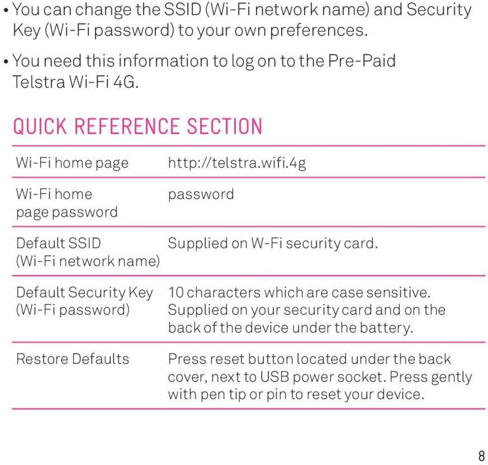4g password Default SSID Supplied on W-Fi security card.